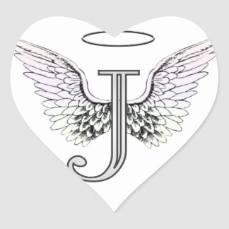 Letter J Initial Monogram with Angel Wings & Halo Heart Sticker
