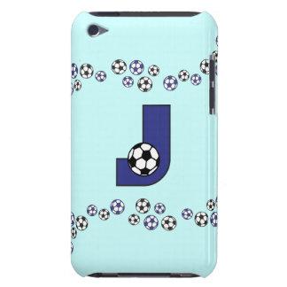 Letter J Monogram in Soccer Blue iPod Touch Cover