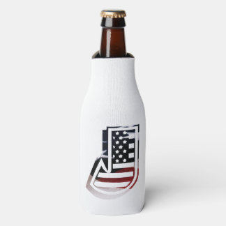Letter J Monogram Initial Patriotic USA Flag Bottle Cooler