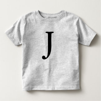 Letter J monogrammed black initial t shirt