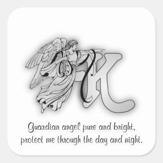 Letter K angel monogram alphabet initial Square Sticker