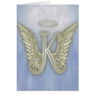 Letter K Angel Monogram Card