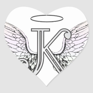 Letter K Initial Monogram with Angel Wings & Halo Heart Sticker