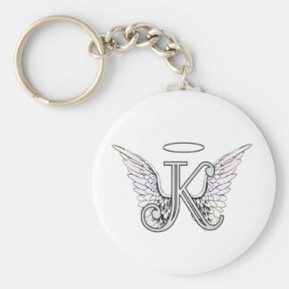 Letter K Initial Monogram with Angel Wings & Halo Key Ring