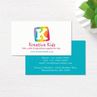 Letter K kids colorful block business card