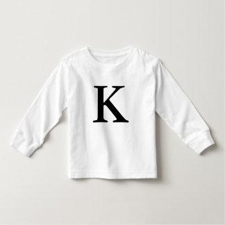 Letter K monogrammed black initial t shirt