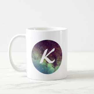 Letter 'K' Name Mug with Space Print Personalize