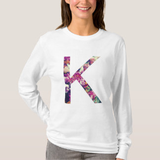 Letter K Scarlet Floral Design Long Sleeve T-shirt