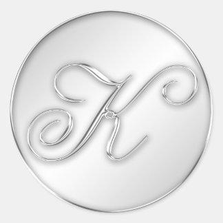 Letter K script initial faux silver monogram favor Round Stickers