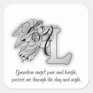 Letter L angel monogram alphabet initial Stickers