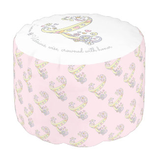 Letter L letter name meaning pink white pouf
