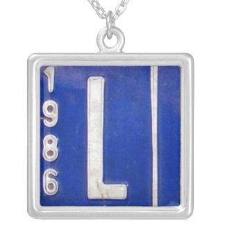 Letter L License Plate Vintage Necklace