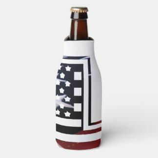 Letter L Monogram Initial Patriotic USA Flag Bottle Cooler