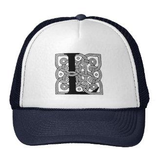 Letter L Vintage Celtic Knot Monogram Mesh Hats
