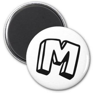 Letter M 6 Cm Round Magnet