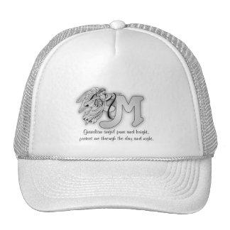 Letter M angel monogram alphabet initial Mesh Hat