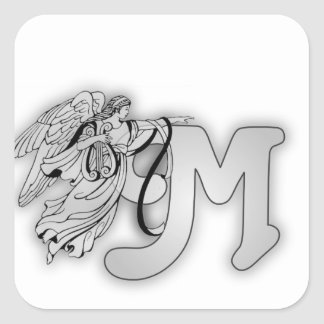 Letter M Angel Monogram Initial Square Sticker