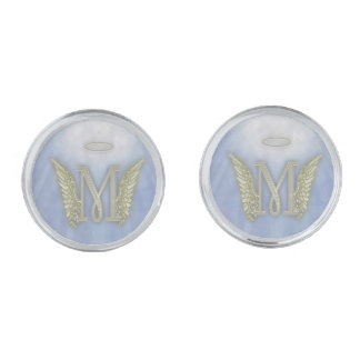 Letter M Angel Monogram Silver Finish Cufflinks
