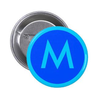 Letter M Aqua Blue Badge Button