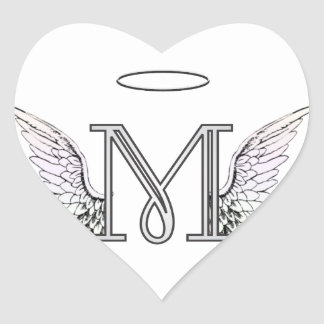Letter M Initial Monogram with Angel Wings & Halo Stickers