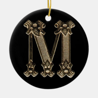 Letter M Initial Round Circle Shaped Ornament