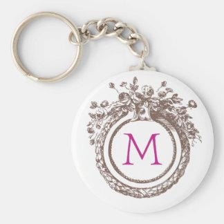 """Letter M Monogram 2.25"""" Basic Button Keychain"""