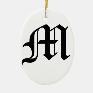 Letter M Old English Text on White Background Ceramic Oval Decoration
