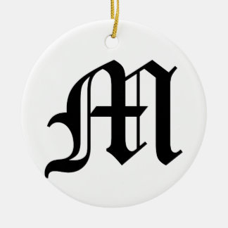Letter M Old English Text on White Background Round Ceramic Decoration