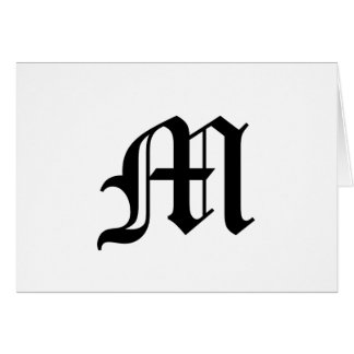 Letter M Old English Text on White Background Greeting Card