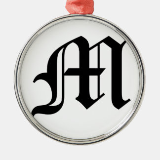 Letter M Old English Text on White Background Silver-Colored Round Decoration