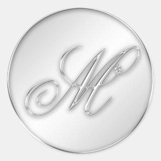 Letter M script initial faux silver monogram favor Round Sticker