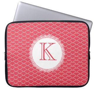 Letter Monogram Poppy Red Designer Laptop Bag