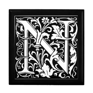 Letter N Medieval Monogram Vintage Initial Large Square Gift Box
