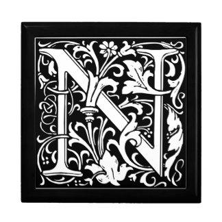Letter N Medieval Monogram Vintage Initial Keepsake Boxes