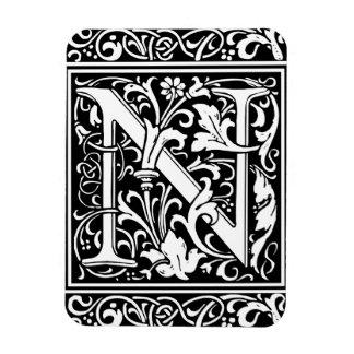 Letter N Medieval Monogram Vintage Initial Magnet