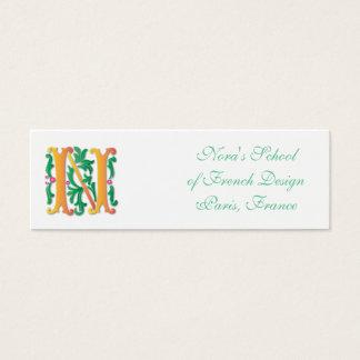 Letter N Monogram Fleur de lis Mini Business Card