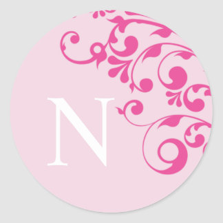 Letter N Monogram Pink Wedding Envelope Seals Round Sticker