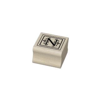 Letter N Monogram Rubber Stamp