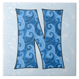 Letter N - Monogrammed Blue Paisley Tile