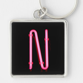"Letter ""N"" Neon Light Monogram Silver-Colored Square Key Ring"
