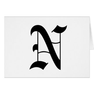 Letter N Old English Text on White Background Greeting Card