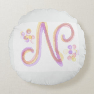 Letter N Round Pillow