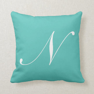 Letter N Turquoise Monogram Pillow