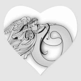 Letter O Angel Monogram Initial Heart Stickers