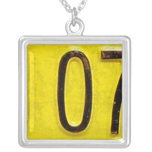 Letter O License Plate Vintage Necklace