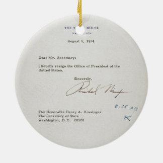 Letter of Resignation of Richard M. Nixon 1974 Ceramic Ornament