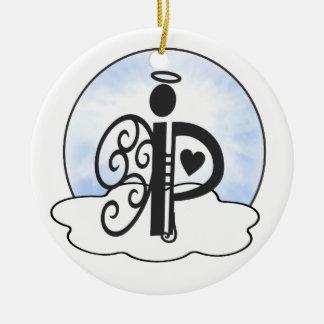 Letter P Alphabet Initial Monogram w Angel Clouds Ceramic Ornament