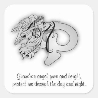Letter P angel monogram alphabet i Sticker