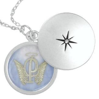 Letter P Angel Monogram Round Locket Necklace