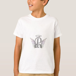 Letter P Initial Monogram with Angel Wings & Halo T Shirt